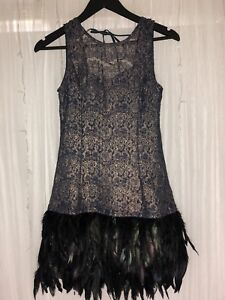 Blue and Copper Feather Detailed Dress | Size 10