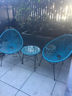 Outdoor Setting - 2 x blue chairs and table