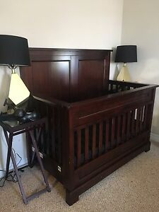 Cherry Wood Crib and Side Table Set