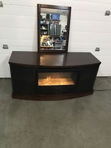 Electric fireplace hutch