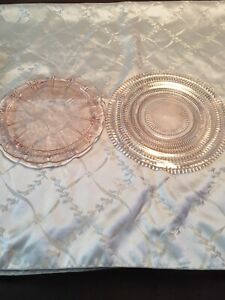 Beautiful Etched Pink Depression Glass Platers