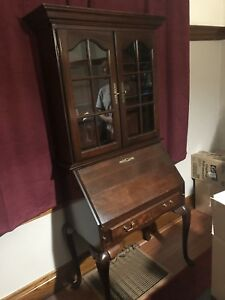 Antique desk with China cabinet