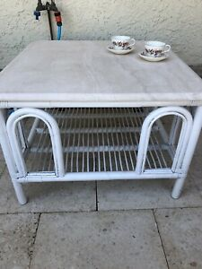 Coffee table (Vintage Pretzel Cane )Marble top.Matt finish