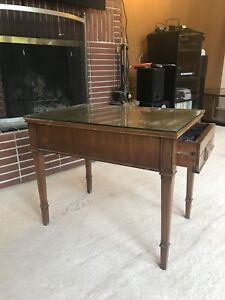 Mahogany round end table, two rectangle tables and coffee table