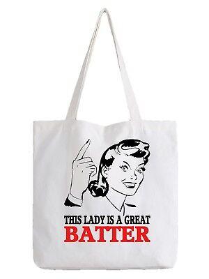 Batter Ladies Tote Bag Shopper Best Gift Cricket Test Sport Team Baseball (Best Hobbies For Women)