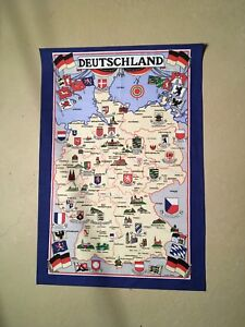 Tea Towel map of Western Germany before merge with East