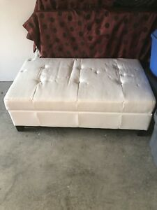 White Leather Ottoman with storage compartment