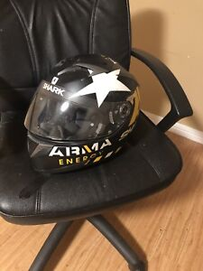 2 helmets jacket and stand motorcycle