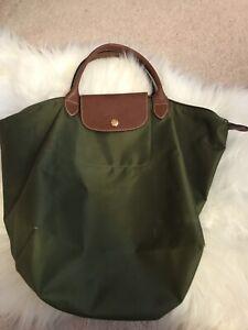 Longchamp khaki green long strap purse for sale