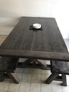 Gorgeous custom made harvest table with 2 benches