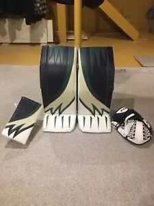Brian's optik goalie pads and blocker, Ccm premier 2 glove