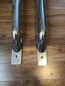 Polished stainless steel truck bed mount bars