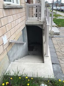 Basement side entrance door and window cutting