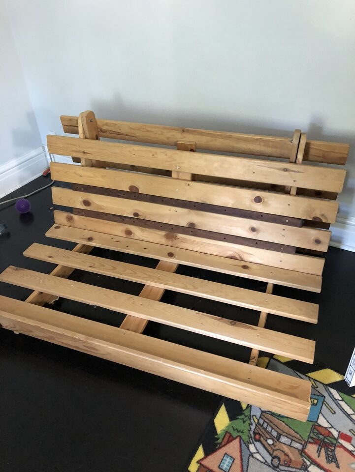 tagged frame futon oak collections east west page futons wood frames large sherbrooke