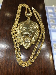"Lion & Rope chain 10k solid gold 24"" yellow gold"