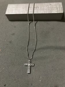 Beautiful Stainless Steel Diamond Center Men's Cross Necklace