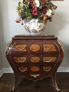 Vintage French Provincial Style Bombe Chest of Drawers