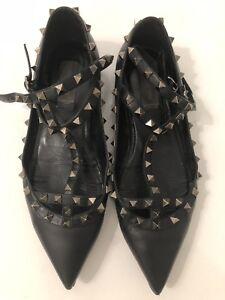 6674ada9767bd Valentino Rockstud Caged Ballerina Flats Noir Size 40