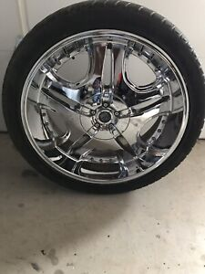 Set of 24 inch chrome Rims & tires. From Dodge 1500