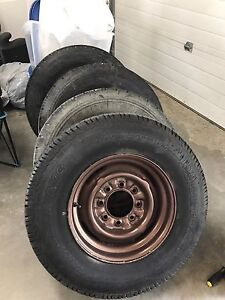 8 bolt lug 9.50 R16.5LT tires & rims