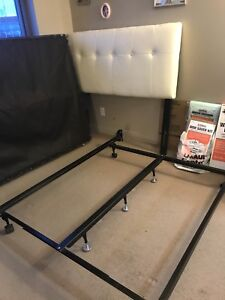Full size bed frame with white leather headboard