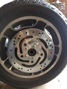 """Harley flh 16"""" inch rim, tire and rotors"""