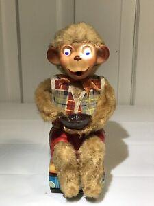 Vintage Tin Toy Monkey Blowing Bubbles Japanese Tin Toy
