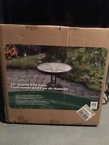 BRAND NEW (NEVER OPENED) Round glass top end table