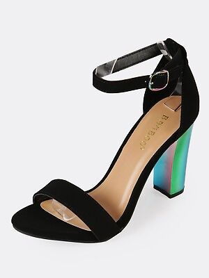 Classic High Heel Sandals - New Womens Holographic Chunky High Heel Ankle Strap Open Toe Classic Pump Sandal