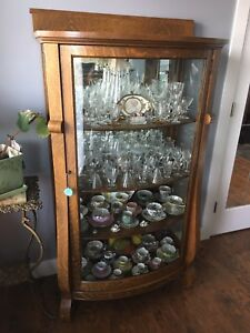 1930's Hutch with bowed glass front