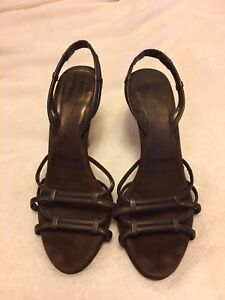 Donna Karan Couture Collection brown suede strappy shoes size 6