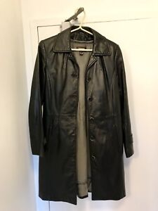 Black Women's Leather Coat Size Small