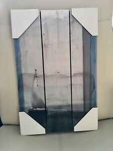 Brand New! Wood Painted Sailboat Picture