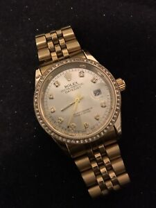 Vintage Rolex Oyster Perpetual gold diamond date men's watch