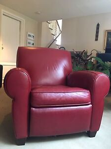 Barcalounger Lectern - Red Leather Push-back Recliner