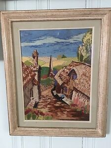 Framed silk embroidery and needle point art