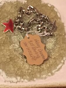 Sterling Silver Hilary Druxman Red Star Charm Bracelet