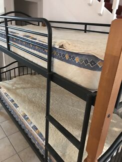 Timber/Iron Bunk Beds with Mattresses and Woollen underlays