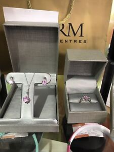 New ladies pink necklace, earrings and ring