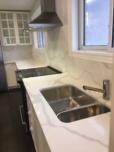 Kitchen Cabinets, countertops, and backsplash