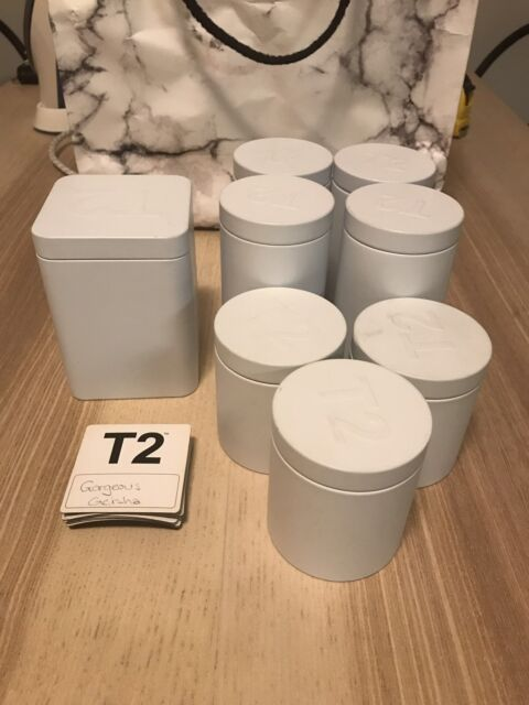 0de8b8c64186 T2 White Tea Canisters tins with Magnets