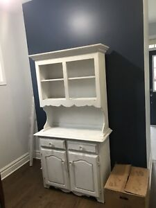 Buffet and hutch white distressed look