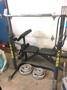 Apex weight bench w/ squat rack and weights