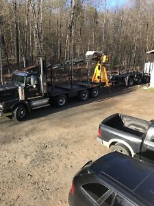 Log truck, trailer and log loader