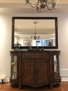 Solid cherry wood hutch server and mirror set for sale