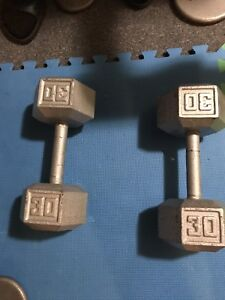 A pair of 30lbs dumbells