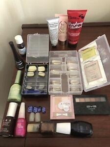 Assorted nail polishes, false nails, hand cream