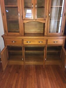 Antique Wood China Display Cabinet Hutch with glass doors