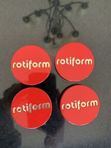 Rotiform Red & Silver Center Caps