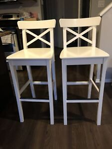 2 Bar stool with backrest, white, chair